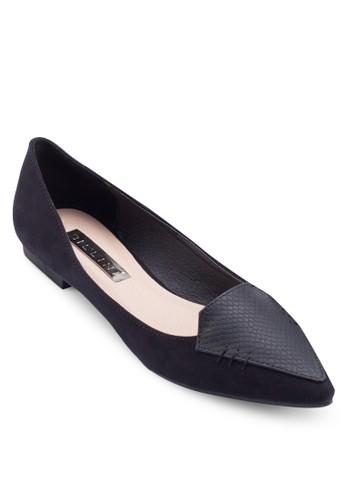 zalora 內衣Violet 蛇紋尖頭平底鞋, 女鞋, 鞋