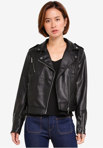 Lipsy black Black Pu Biker Jacket 06E87AA6517D6FGS_1
