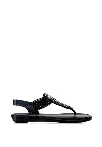 London Rag black Trisha Toe Post Sandals 01054SHC411B31GS_1