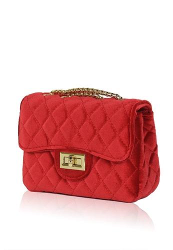 13e1c7b94eb4 Quilted Velvet Crossbody Bag - Red