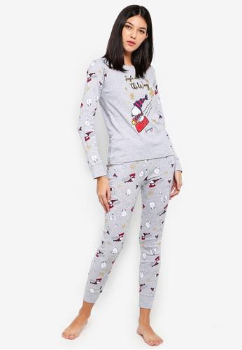 OVS grey Light Grey Pyjama Set With Snoopy Print 3D1DAAAF78D3B7GS_1