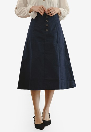 Tokichoi blue Button Front Midi Skirt DB83DAA41D7468GS_1