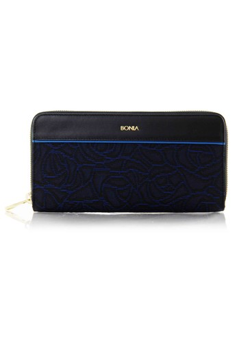Bonia Dark Blue Leather Zipper Wallet