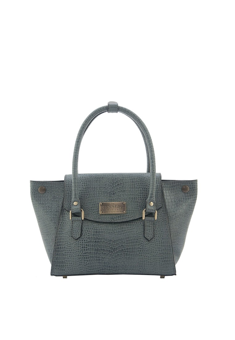 Khloe, Genuine Leather Gray Crocodillo Shoulder Bag
