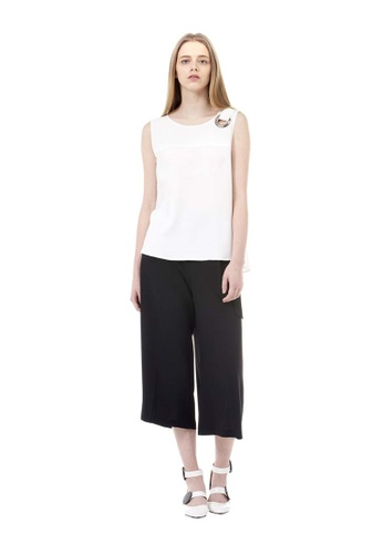 VOV(Voice of Voices) black Black Pintucked Wide-Leg Trousers AFC4FAA2929552GS_1