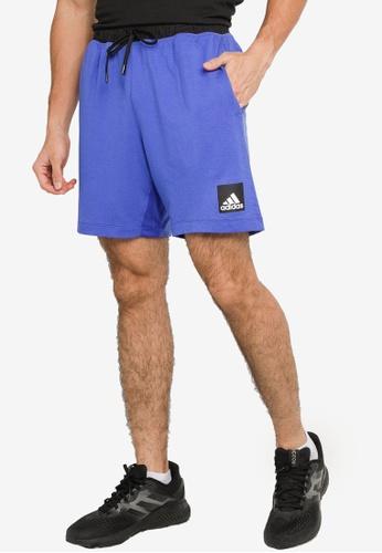 ADIDAS blue city fleece training shorts 67A21AAE74570BGS_1