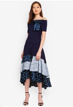 c54b48d4e302 BYSI blue Off Shoulder Tiered Dress 75EDEAA7AB7807GS 1