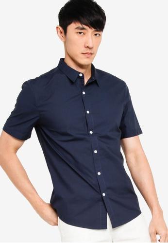 ZALORA BASICS navy Basics Slim Fit Short Sleeve Shirt A2AE1AA015D3E7GS_1