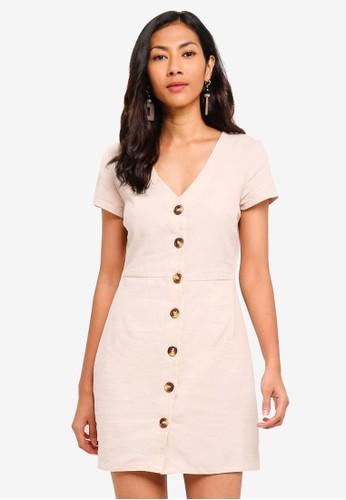 Glamorous beige Button Skater Mini Dress 8D8D9AABEE3DE1GS_1