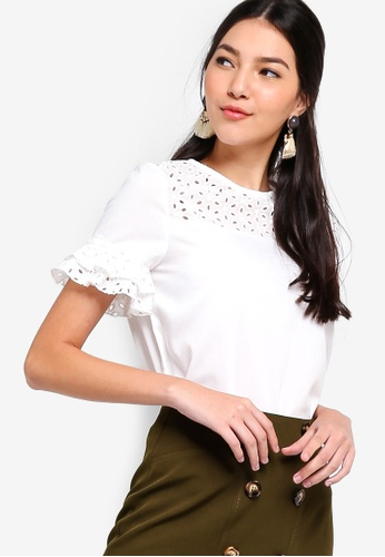 ZALORA white Embroidered Flare Sleeves Blouse 3DDEAAA4BB4D09GS_1