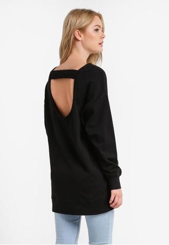 Cotton On black Coby Open Back Tunic Sweatshirt CO372AA0RCOWMY_1