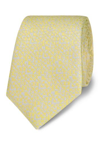 T.M. LEWIN yellow T.M.Lewin Yellow Abstract Triangle Silk Slim Tie C48C7AC3B9BFFDGS_1