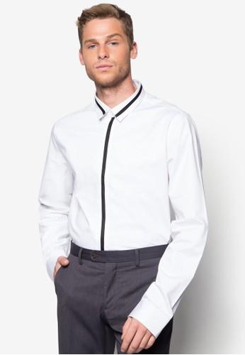 撞色開襟長袖esprit taiwan襯衫, 服飾, 襯衫