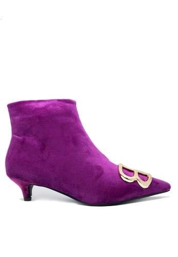 Twenty Eight Shoes purple BB Button Pointy Ankle Boots 211 242D6SH04970CBGS_1