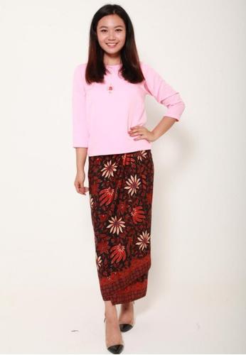 Naphthys Collection black and red and multi Batik Skirt/Sarong B09ACAACF0542DGS_1