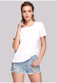 Women's Stylish Hollow Out Back Round Collar Short Sleeve T-shirt