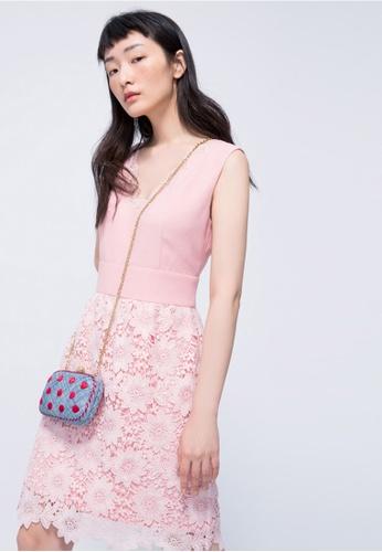 iROO pink Laced Midi Dress 1FF0DAAF1D8F2EGS_1