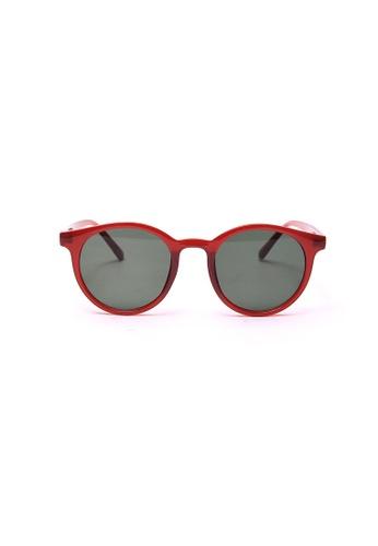 Kyfer's Eyewear & Essentials black and red Vintage Round Sunglasses (Red) KY376AC0GDV2SG_1