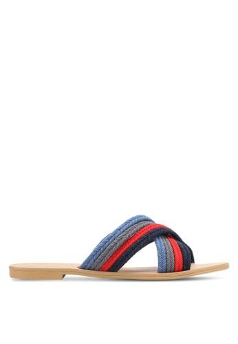 ZALORA 藍色 編織繞帶涼鞋 27948SHF4FCAAFGS_1