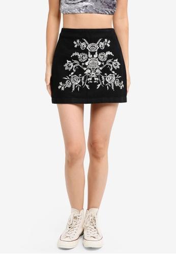TOPSHOP black Petite Embroidered A-Line Skirt 2C8D0AAB6CBB95GS_1