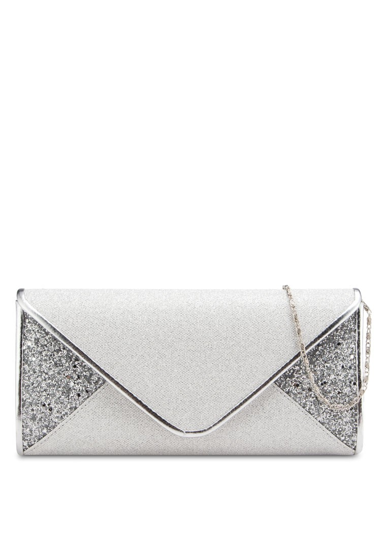 V-Shaped Duo-Textured Dinner Clutch