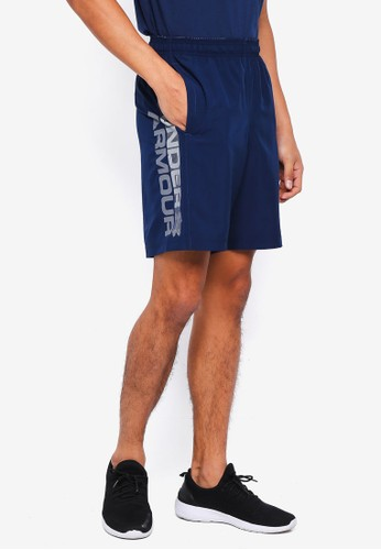 Under Armour navy Woven Graphic Wordmark Shorts 61073AA88D3599GS_1