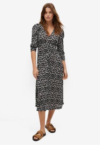 Mango 黑色 Printed Textured Dress 428DFAAAD0EFEDGS_1