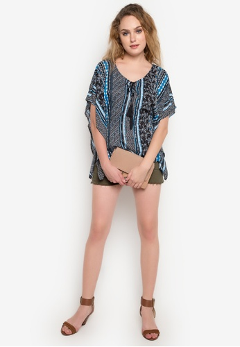 Springfield blue Printed Blouse with Tassel SP071AA07RCAPH_1