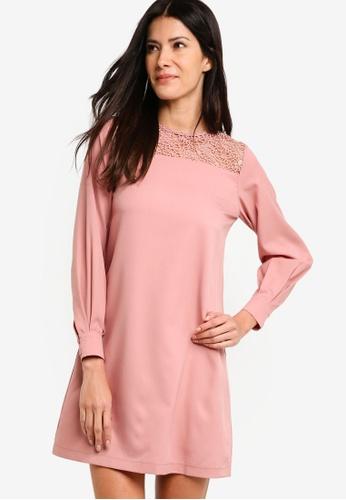 ZALORA pink Balloon Sleeves Shift Dress D2148AA26B4CAFGS_1