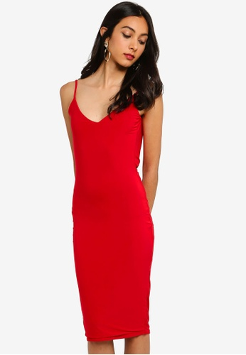 1a37a61eb2 MISSGUIDED red Double Layer Slinky Cowl Back Midi Dress AEB06AA750D83CGS 1