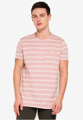 Brave Soul pink Striped Crew Neck T-Shirt 8EBDAAA168684EGS_1