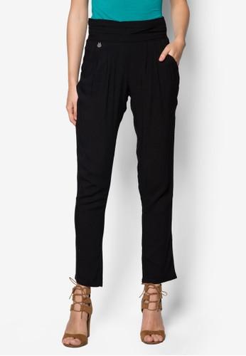 Tetraz 褶飾zalora taiwan 時尚購物網錐形長褲, 服飾, 服飾