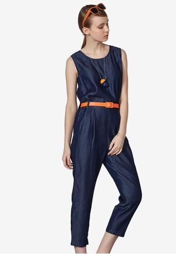 Hopeshow blue Belted Denim Jumpsuit AC6FDAA1B1165CGS_1