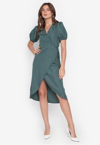 Anna Alba green Delora Puff Sleeves Wrap Dress Side Tied 528D9AA9342C00GS_1