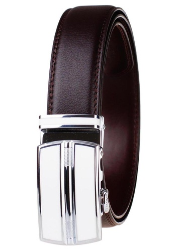 FANYU white Leather Dress Belt With Automatic Buckle belt 38ED1ACD57F4B5GS_1