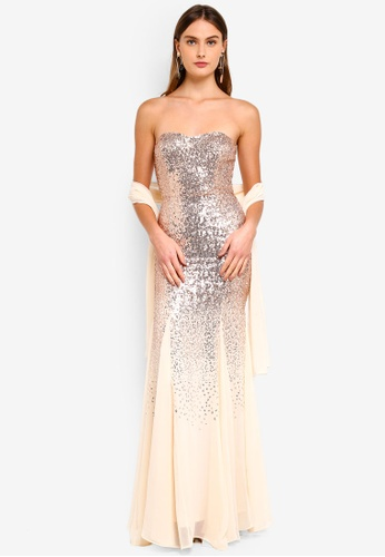 Goddiva gold Bandeau Sequin And Chiffon Maxi Dress With Scarf 3B232AACEBB466GS_1