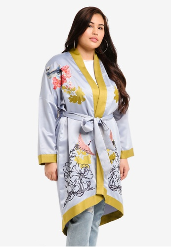 LOST INK PLUS blue Plus Size Longline Kimono With Embroidery 86E75AAC209AE6GS_1