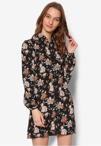 印esprit地址花襯衫長袖連身裙, 服飾, 洋裝