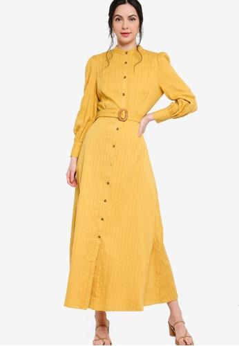 Zalia yellow Belted Puff Sleeve Shirt Dress CB8C8AAEBA4DC8GS_1