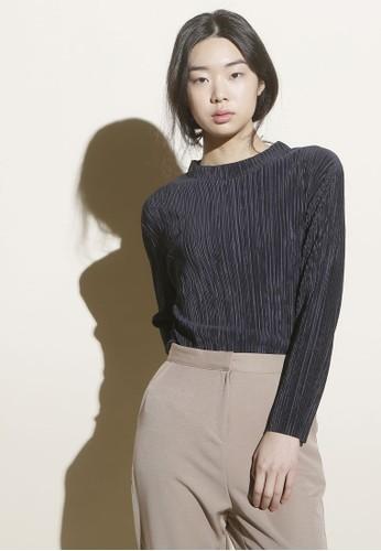 韓式風格高領細褶短版長袖上衣, 服飾esprit 鞋, 上衣