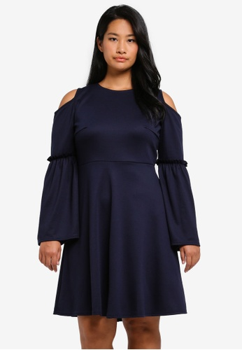 LOST INK PLUS navy Plus Size Skater Dress With Frill Wide Sleeve LO776AA0T1SJMY_1