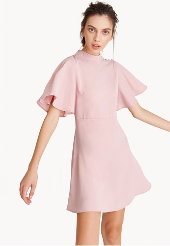 Pomelo pink Butterfly Sleeves Mock Neck Dress - Pink 909AAAA07DAA20GS_1