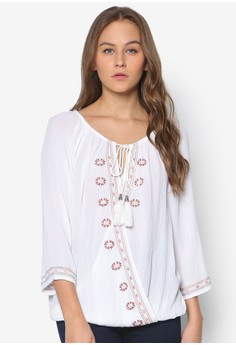 Ivory Embroidered Wrap Top