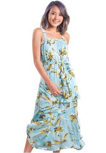 Kitschen green Summer Print Sleeveless Tier Dress 02A69AA964CE0BGS_1