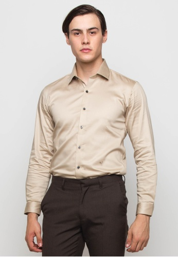 The Executive brown and beige Basic Long Sleeve Shirt 10A71AADB2606EGS_1