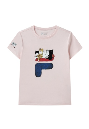 FILA pink FILA x Pepe Shimada F Logo Cat Print Cotton T-shirt 8ACF8AA70853CCGS_1