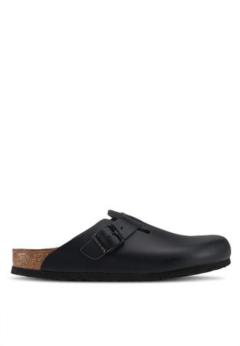 Birkenstock black Boston Smooth Leather Sandals 651ADSH4411273GS_1