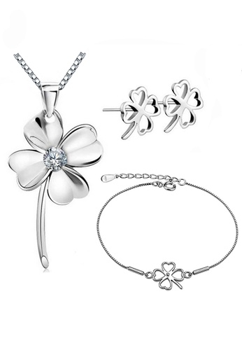 YOUNIQ silver YOUNIQ Clover 925 Sterling Necklace Pendant with Cubic Zirconia Necklace, Earrings & Bracelet Set (Silver) 26871AC139CC4EGS_1