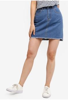 4cdebb20e ZALORA BASICS blue Basic Classic Denim Mini Skirt A82AEAA8CFF9DFGS_1