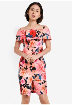 ead1ad47d1 Dorothy Perkins pink and multi Petite Floral Bardot Dress DO816AA26UVLMY_1